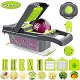 GuenxGemüsehobel, 12 in 1 Gemüseschneider | Zwiebelschneider | Schneiden/Würfeln/Hobeln/Stifteln/Schälen/Aufbewahren | Mandoline | Obstschneider | Zerkleinerer | 2019 NEU