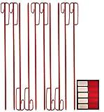 UvV Absperrleinenhalter für Warnband, Fangzaun 1200 mm geriffelt, rot lackiert + 10 Reflexsticker rot/weiß RA1 Orafol