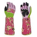 Rosenschnitthandschuhe für Damen, Gartenhandschuhe, rosa, schöne dornensichere Gartenhandschuhe mit langen Ärmeln aus Segeltuch zum Blumen Pflanzen
