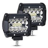 URAQT LED Arbeitsscheinwerfer, Scheinwerfer LED Auto, 2x60W Zusatzscheinwerfer, Flutlicht Wasserdicht, Wasserdicht Offroad Scheinwerfer, 4 Zoll