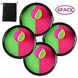 Locisne Klettball Set Klettballspiel für Kinder, Self Stick Disc Paddel und Toss Ball Sportspiel mit Aufbewahrungstasche für Outdoor Indoor, 4 Paddel und 4 Bälle