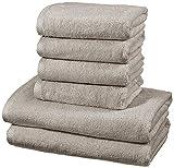 AmazonBasics - Handtuch-Set, schnelltrocknend, 2 Badetücher und 4 Handtücher - Platingrau, 100 Prozent Baumwolle