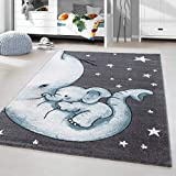 HomebyHome Kinderteppich Kurzflor Elephant Kinderzimmer Babyzimmer Grau Blau Meliert, Größe:160x230 cm
