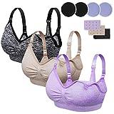 Rovtop 3 Stück Still-BHS für Frauen Nahtloser Schwangerschafts-BH Abnehmbarer gepolsterter Schlaf Komfortabel zum Stillen mit kostenlosen Stillkissen und BH-Extendern (Größe XL)…