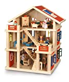 Bayer Chic 2000 293 01 Puppenhaus 3-stöckig aus Holz, komplett möbliert, rot