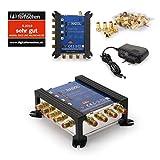 Anadol Gold Line Multischalter 5/4 für Satellit - Multiswitch für 1 Satelliten und 4 Ausgänge/Receiver - Sat-Verteiler externes Netzteil - Multischalter 9 vergoldeten F-Stecker
