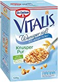 Dr. Oetker Vitalis Weniger Süß Knusper Pur: Großpackung Knuspermüsli mit 30% weniger Zucker, 2er Packung (2 x 1,5kg)