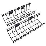 KD Essentials – Kabelkorb aus Metall, 2er-Pack – Kabelhalterung & Kabelkanal & Kabelwanne (Untertisch-/Wandmontage, schraubbar, verstaut Kabel, Ladegeräte, Netzteile, Steckdosenleisten, schwarz)