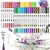 Molbory Pinselstift Dual Brush Pen Set, 36 Farben Doppelfasermaler Tinte mit 2mm und Fineliner 0.4mm Tip for Bullet Journal, Zeichnen, Handlettering, Kalligraphie, Manga, Fotoalbum