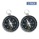 Lezed (2Pcs Kompass,Bergsteigen Kompass,Outdoor-Camping-Wander-Navigation Kompass,Leicht, Leicht Zu Tragen (Aluminiummetall, Regular (R))