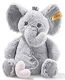 Steiff Elli Elefant Spieluhr - 20 cm - Kuscheltier für Babys - Soft Cuddly Friends - weich & abwaschbar - hellgrau (241765)