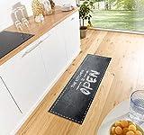 Zala Living The Kitchen is Open Waschbarer Küchenläufer, Polyamid, Schwarz/grau, 150 x 50 x 0.5 cm