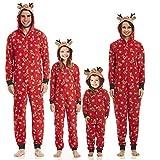 Familien Weihnachten Pyjamas Set Schlafanzug Jumpsuit Hoodie mit Reißverschluss Kapuze Schlafanzüge Overall Hausanzug für die Familien (Frauen, M)