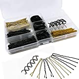 200 Stück bobby pins und U Haarnadeln und Ca.140 Stück Gummi-Haargummi mit Aufbewahrungsbox, Haarklammer Haarschmuck für Mädchen und Frauen, Gold, Weiß und Schwarz