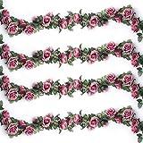 Ruiuzi Künstliche Rosenranken, künstliche Rosen, Girlande, Seidenblumen zum Aufhängen, für Hotel, Hochzeit, Zuhause, Party, Garten, Handwerk, Arch Arrangement Dekoration (Rosarot, 2 Stücke-10Flower)