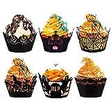 LOVEXIU Cupcake Wrappers Schwarz,Cupcake Formen Papier 24 StüCk,Muffin FöRmchen Papier,Halloween Deko, Cupcake Dekoration FüR Hochzeiten, Geburtstage, Party, Weihnachten 6 Stile