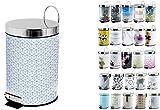 MSV Kosmetikeimer Mosaik Mülleimer Treteimer Abfalleimer - 3 Liter – mit herausnehmbaren Inneneimer