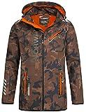 Geographical Norway Herren Softshell Outdoor Jacke Rainman/Royaute Camo Turbo-Dry Kapuze Khaki/orange L