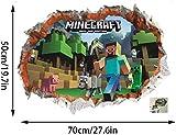 GTRB Wandsticker Minecraft Cartoon Game 3D Wandaufkleber Für Kinderzimmer Wandbild Poster Wohnkultur Wandtattoo Poster Platz Welt 70 * 50 Cm