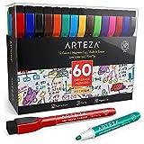Arteza magnetische Whiteboard Marker, feine Spitze und Magnet-Kappe, Set mit 60 Whiteboard Stiften, 12 verschiedene Farben, geruchsarme Tinte, trocken abwischbar von Magnettafeln