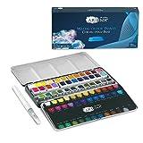 Artina Colaro Farbkasten Aquarellfarben 36 Set Wasserfarbe Malkasten Metallkasten mit Aquarell Näpfchen Wasserfarben Malset und Wassertankpinsel - Pinselstift