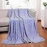 Luxear kühlende Kuscheldecke, mit Q-Max 0,4-Kühlfasern Kühldecke, 2 in 1 doppelseitige Baumwolle Wohndecke, Flauschige und weiche Sofadecke Baby Decke Outdoor Decke, 130 x 170cm, blau