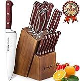 Emojoy Messerblock, 15-TLG Messerset Holzgriff, Kochmesser Set aus rostfreiem Edelstahl, Küchenmesser Profi Messer mit Wetzstahl, braun