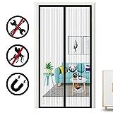 Oladwolf Magnet Fliegengitter Tür Insektenschutz 90 * 210cm, Magnetischer Fliegenvorhang Moskitonetz für Balkontür Kellertür Terrassentür Klebmontage ohne Bohren