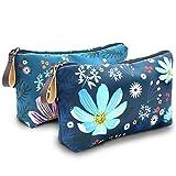 Kosmetiktasche, UYRIE Make-up-Tasche Reise-Make-up-Taschen wasserdichte Kulturtasche (Blaue Blume&Rosa Blume)