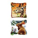 Tubayia 2 Set Giraffe/Kaninchen Knüpfkissen Selber Knüpfen Kissenbezug Knüpfpackung Kit