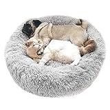 Cozywind Hundebett Flauschig, rundes Haustierbett Hundekissen Hundesofa Katzenbett Donutform weiches Plüsch Luxusbett (70CM, Hellgrau)