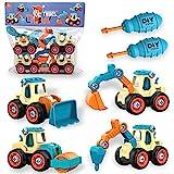 aovowog Bagger Spielzeug ab 3 4 5 Jahren für Jungen,4 in 1 BAU Jungen Spielzeug Sandkasten Sandspielzeug Engineering Bagger Set ,Zerlegen Spielzeug DIY Baufahrzeuge Lernspielzeug für Kinder