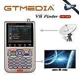 GT Media V8 Sat Finder Meter Digital HD Satellitenfinder Sat Messgeräte mit Satellitenerkennung DVB-S/S2/S2X zur exakten Justierung Ihrer Sat Antenne 3,5'LCD Display Akku-3000mAh