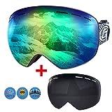 Boomersun Skibrille Snowboard Brille Ski Schutzbrille OTG UV400 Schutz Antibeschlag Winddicht Austauschbare Linse für Wintersportarten wie Motorrad Eislaufen Skifahren (Schwarz, A)