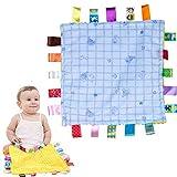 Baby Comfort Decke mit Tags-Tröster Sicherheitsdecke Soft Touch Taggies Kinderkrankheiten Decke-tolles Geschenk für Baby, Kleinkind, Kleinkind (Blue Candy)