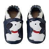 HMIYA Weiche Leder Krabbelschuhe Babyschuhe Lauflernschuhe mit Wildledersohlen für Mädchen und Jungen(12-18 Monate,Blau)