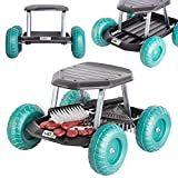 UPP Gartenwagen Rollsitz bis 130 kg mit Ablage für kleine Gartengeräte   Sitzhöhe 33 cm   Knie- und rückenschonend bei Beet Arbeiten im Garten oder bei der Auto Pflege UVM.