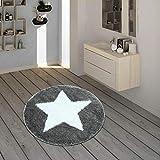 Paco Home Badematte, Runder Kurzflor-Teppich Für Badezimmer Mit Sternen-Motiv In Grau Weiß, Grösse:60x60 cm