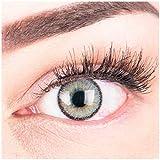 """Sehr stark deckende und natürliche graue Kontaktlinsen SILIKON COMFORT NEUHEIT farbig """"Mirel Grey"""" + Behälter von GLAMLENS - 1 Paar (2 Stück) - DIA 14.00 - ohne Stärke 0.00 Dioptrien"""