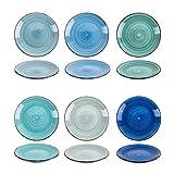 esto24 Design 6er Set Kuchenteller Dessertteller ESS Teller Porzellan 19cm tollen Farben (Kuchenteller Blau)