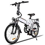 Elektrofahrräder 36V 8AH Lithium Batterie Faltrad MTB Mountainbike E-Bike 7 Speed Fahrrad Intelligence Elektrofahrrad (Weiß, 20 Zoll)