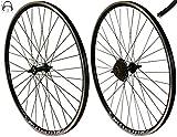 Redondo 28 Zoll Laufrad Set Hinterrad Vorderrad 28' V-Profil Hohlkammer Felge Schwarz + 7-Fach Kranz