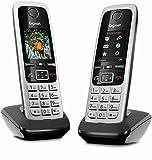Gigaset C430HX Duo – 2 schnurlose IP-Telefone (zum Anschluss an Router oder Basisstationen - klassische Mobilteile mit Farbdisplay und HD-Voice) schwarz-silber