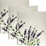 SWEDEdishcloths Schwedische Geschirrtücher mit Lavendelmotiv, umweltfreundlich, wiederverwendbar, saugfähig, für die Reinigung, schwedische Geschirrtücher (Lavendel)