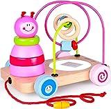 Rolimate Nachziehspielzeug Montessori Spielzeug 4 in1 Holzspielzeug, Stapelturm Spielzeug Sortier & Stapelspielzeug, Auto Spielzeug Developmental Lernspielzeug Beste Geburtstagsgeschenk für 18+ Monate