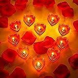 10 Stücke Herz Kerzen Romantische Liebe Kerze Rauchlos Teelichtkerze mit 200 Stück Seiden Rose Künstliche Blütenblätter Mädchen Streuen Blütenblätter für Hochzeit Party Valentinstag