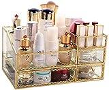 1yess Glas kosmetischer Kasten Regal-Glasspiegel Transparent kosmetisches Aufbewahrungsbehälter-Girls Best Gift Skin Care Schubladen Desktop-Finishing-Rack Frisierkommode Lippenstift