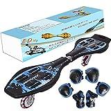 EiDevo Waveboard, Double Wheel Scooter Caster Board mit LED-Blitzrad Wave Board Geburtstagsgeschenk Anti-Rutsch-Schlangenbrett Geeignet für Kinder und Jugendliche Anfänger Skateboard (Blau)