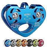 ALPIDEX Seilrolle Tandem Pulley Umlenkrolle Doppelseilrolle - geeignet für Stahlseile 8-12 mm Ø und Textilseile bis 13 mm Ø, Farbe:blau