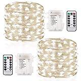 GDEALER 2er 6M 60 Micro LED Lichterkette Batteriebetrieben mit Fernbedienung und Timer, IP65 Wasserdicht Kupferdraht 8 Modi Außenbeleuchtung Innenbeleuchtung für Garten, Weihnachten